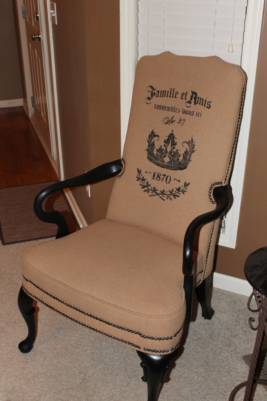 stenciling and painting burlap fabric chairs the magic brush inc jennifer allwood. Black Bedroom Furniture Sets. Home Design Ideas
