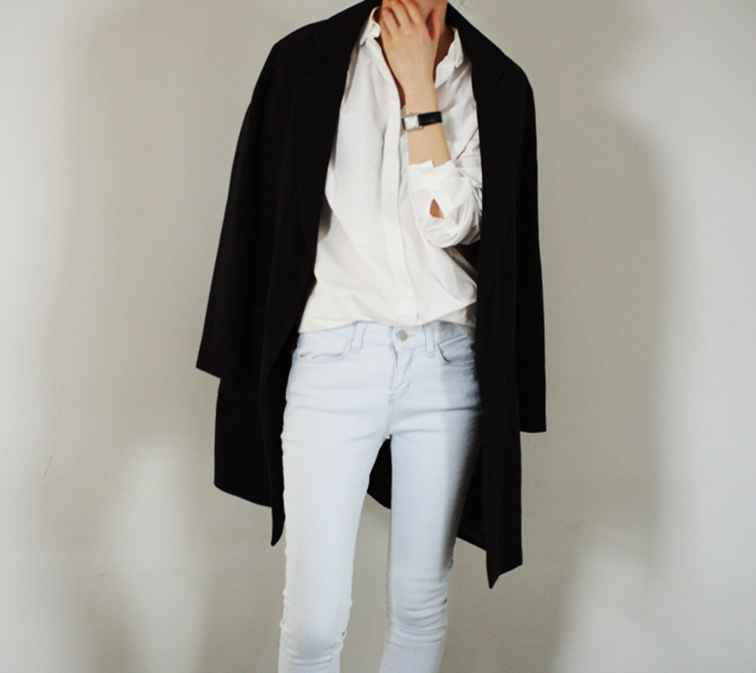 Light denim, white menswear shirt, black overcoat, effortless chic, french woman style
