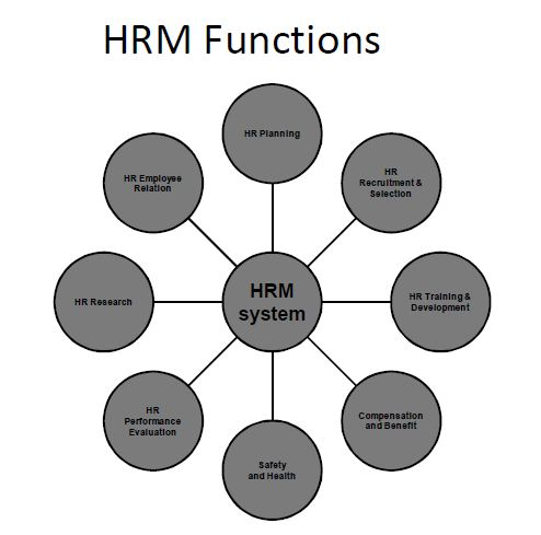 hrm functions Human resource management (hrm), or staffing, is the management function devoted to acquiring, training, appraising, and compensating employees in effect, all managers are human resource managers, although human resource specialists may perform some of these activities in large organizations.