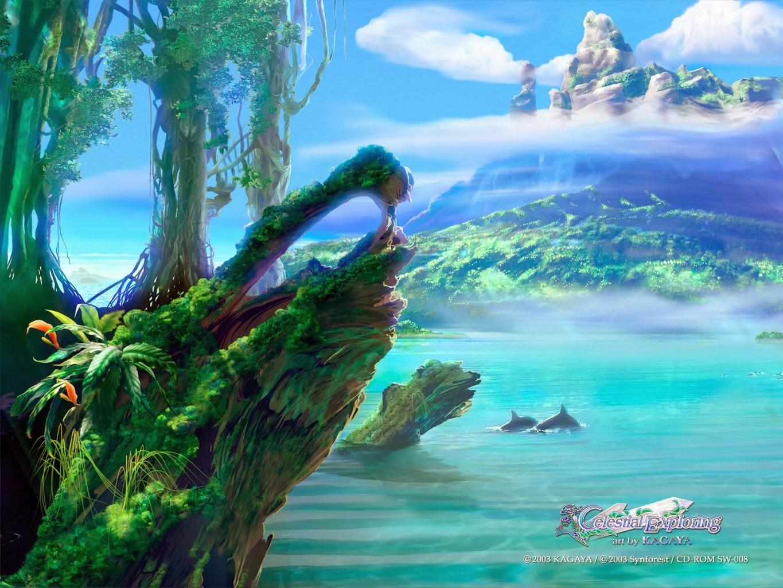 Kagaya Yutaka • Fondo de Pantalla • paisaje, delfines