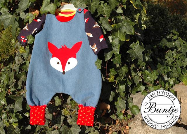Hose Baby Spieler Strampler Madame Jordan Fuchs Aennie Jeans Bündchen 62/68 handmade nähen Buntje