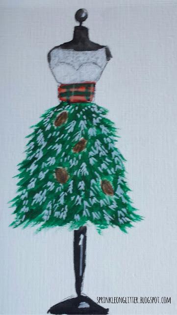 Sprinkle On Glitter Blog// Christmas tree dress mannequin