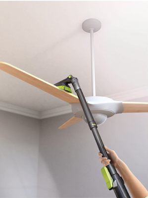 ceiling fan vacuum attachment. it comes with standard attachments and some very cool ones, like this one that dusts your ceiling fans! fan vacuum attachment t