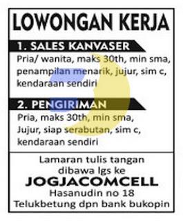 Bursa Kerja Jogjacomcell Lampung