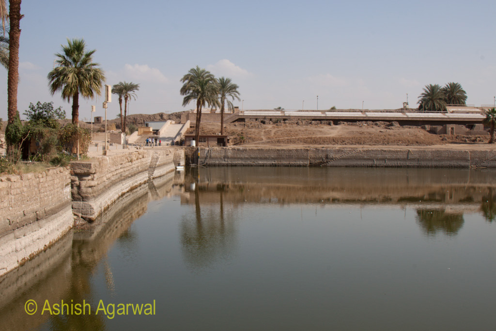 Pond of water inside the Karnak temple in Luxor