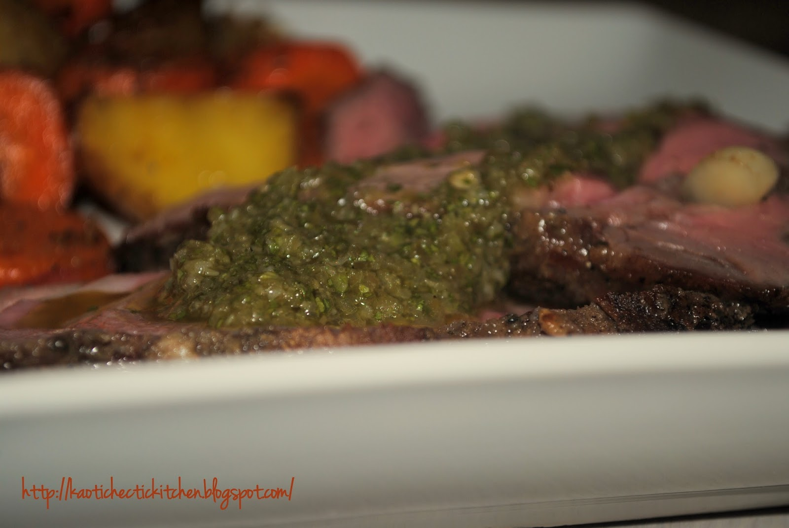 grilled butterflied leg of lamb with a hatch green chili chimichurri ...