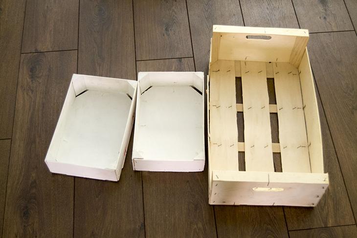 Oro y menta caja con tapa con dos cajas de fresas recicladas - Cajas de madera recicladas ...