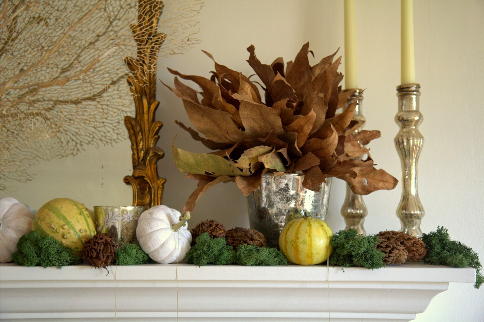 Autumn Leaf Bouquet on My Mantle
