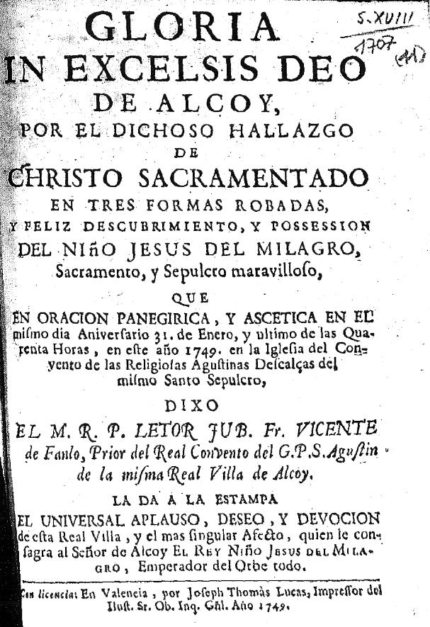 """de Alcoy"""": Unos versos por el hallazgo de Christo Sacramentado y feliz"""