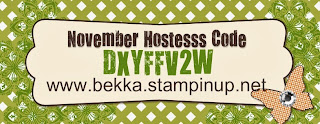 Shop at www.bekka.stampinup.net and use this code before 30 November and you could win some Stampin' Up! goodies!