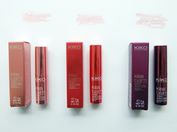 KIKO Kiss Balms, tinted lip balms with SPF 15