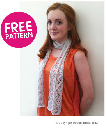 Eight by six debbie bliss free lacy scarf knitting pattern happy knitting amanda x dt1010fo