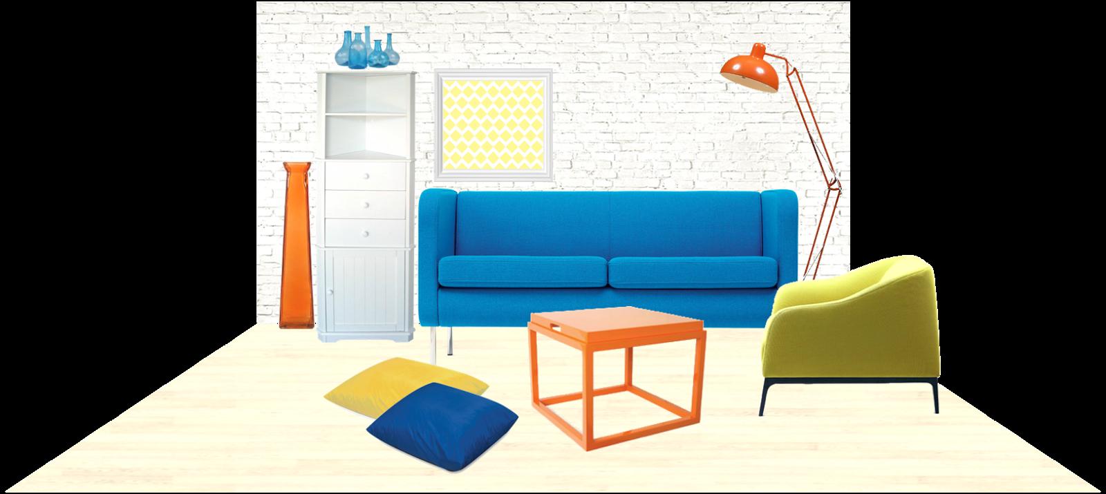 Quirk It Design_color block decor_orange-blue-yellow-white-moodboard_DIY_Quirky_Home_Decor