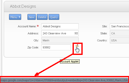 Siebel open ui extensibility part 2 the google maps example icon appear next to the postal code control in the account form applet hovering over the icon should allow us to see the url in the browser status bar fandeluxe Choice Image
