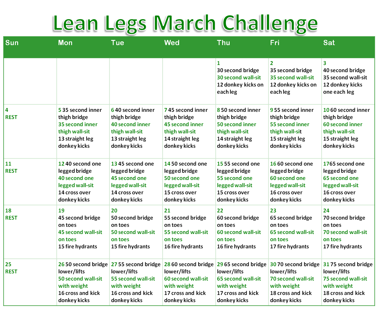 Lean Legs March Week 2 Exercises | Fun, Fit and Fabulous!