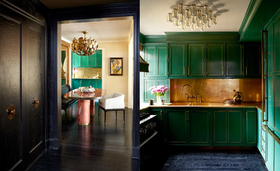 Cameron Diaz's green kitchen in her New York Apartment, via Peep My Styles
