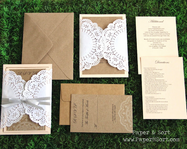 romantic rustic wedding invitation set made of paper doily and recycled Kraft paper