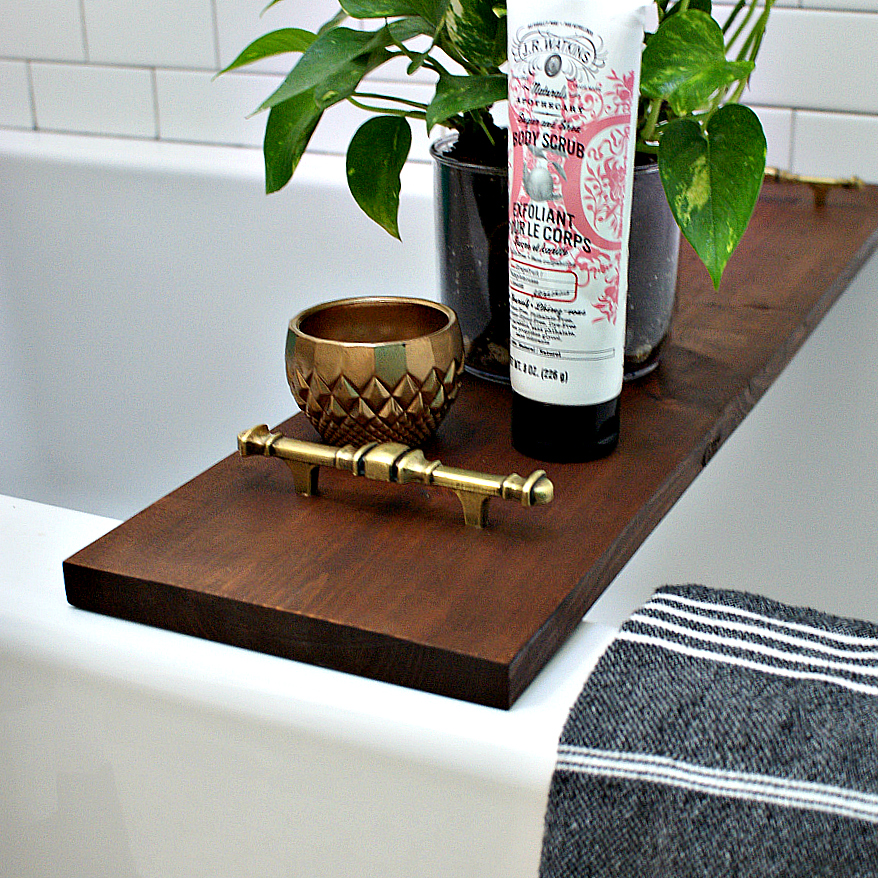 DIY bathtub tray with brass handles