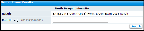 North Bengal University-NBU B.A/B.SC/B.Com Part-3 Examination Result 2015