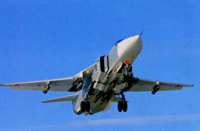 Взлет Су 24М с боевой нагрузкой из шести ОФАБ-250ШЛ.