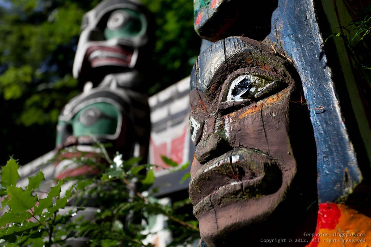Indian totem pole Vancouver Canada Capilano Suspension bridge