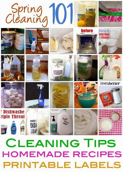 Spring Cleaning - Cleaning Tips, Homemade Recipes and Free Printable Labels