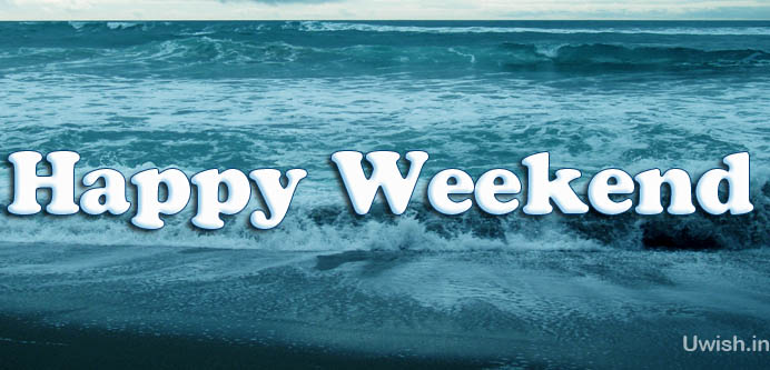 Happy Weekend e greeting cards and wishes in beach.