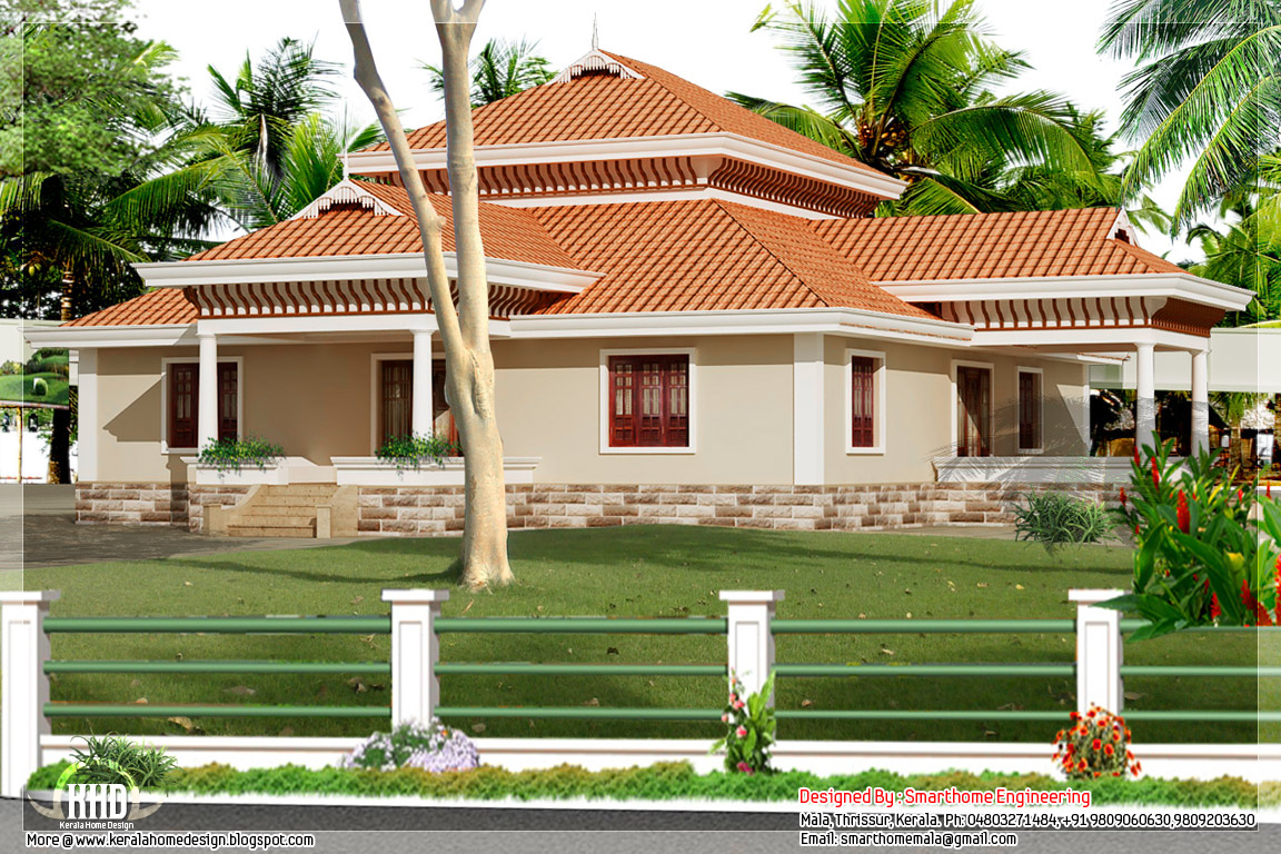 3 Bedroom Tradition Kerala Home With Nadumuttam Part - 16: Kerala Single Storey House