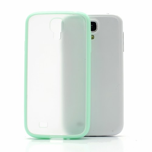 Hybrid Case : TPU Edges and Transparant Back Case Samsung Galaxy S 4 IV i9500 i9505 - Baby Green
