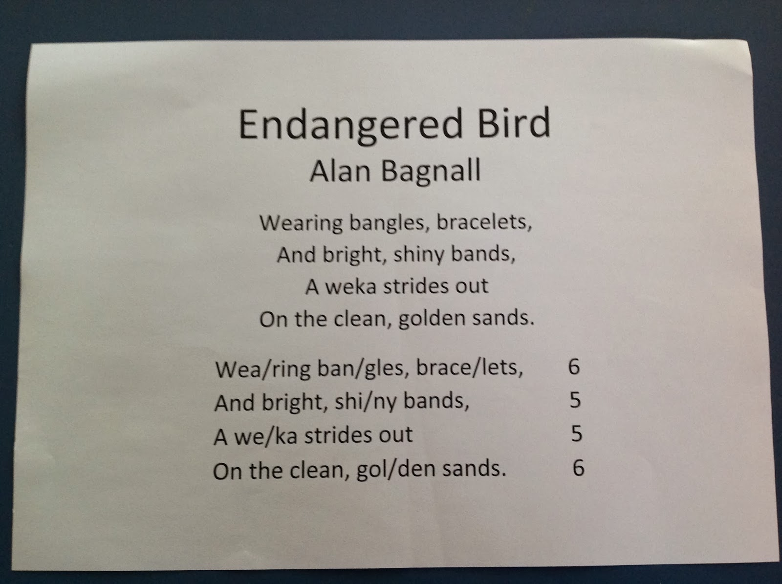 room16 syllable poem