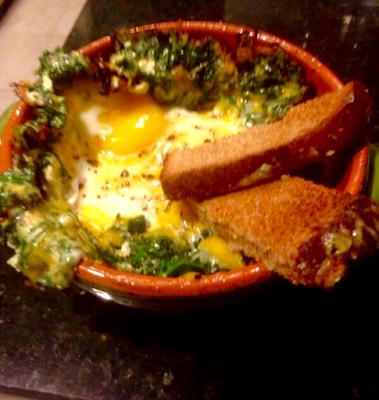 Creamy Kale, Cheddar, Egg Breakfast