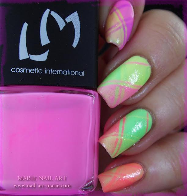 Nail Art Ecossais Pastel Fluo9