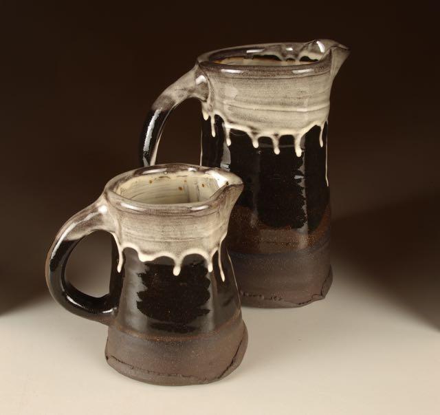black earthenware jugs