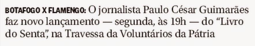 Lançamento livro do SENTA segunda, 27, na Travessa Botafogo