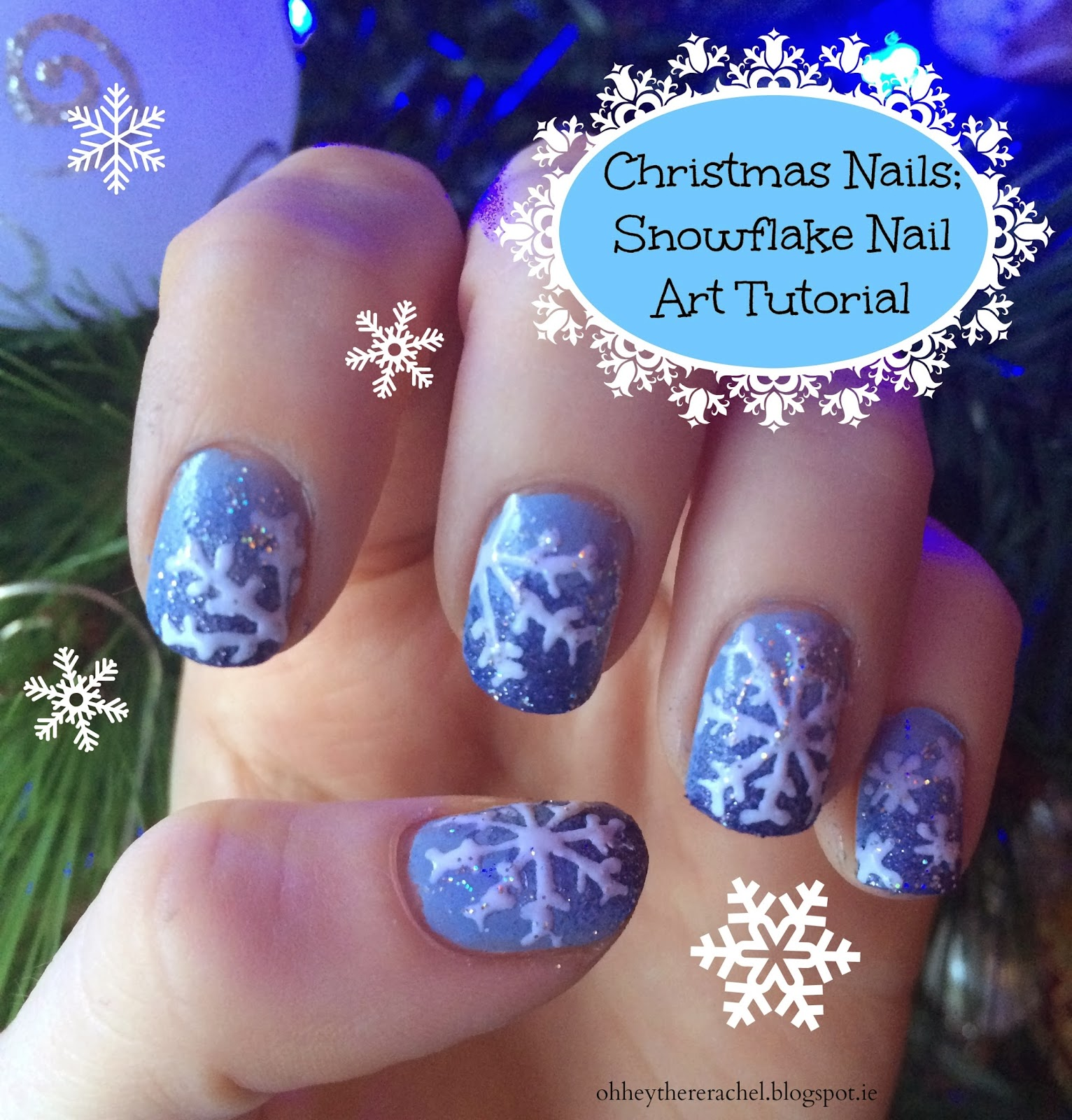 Christmas Nail Art Tutorial Gingerbread Galore: Christmas Nails; Snowflake Nail Art Tutorial
