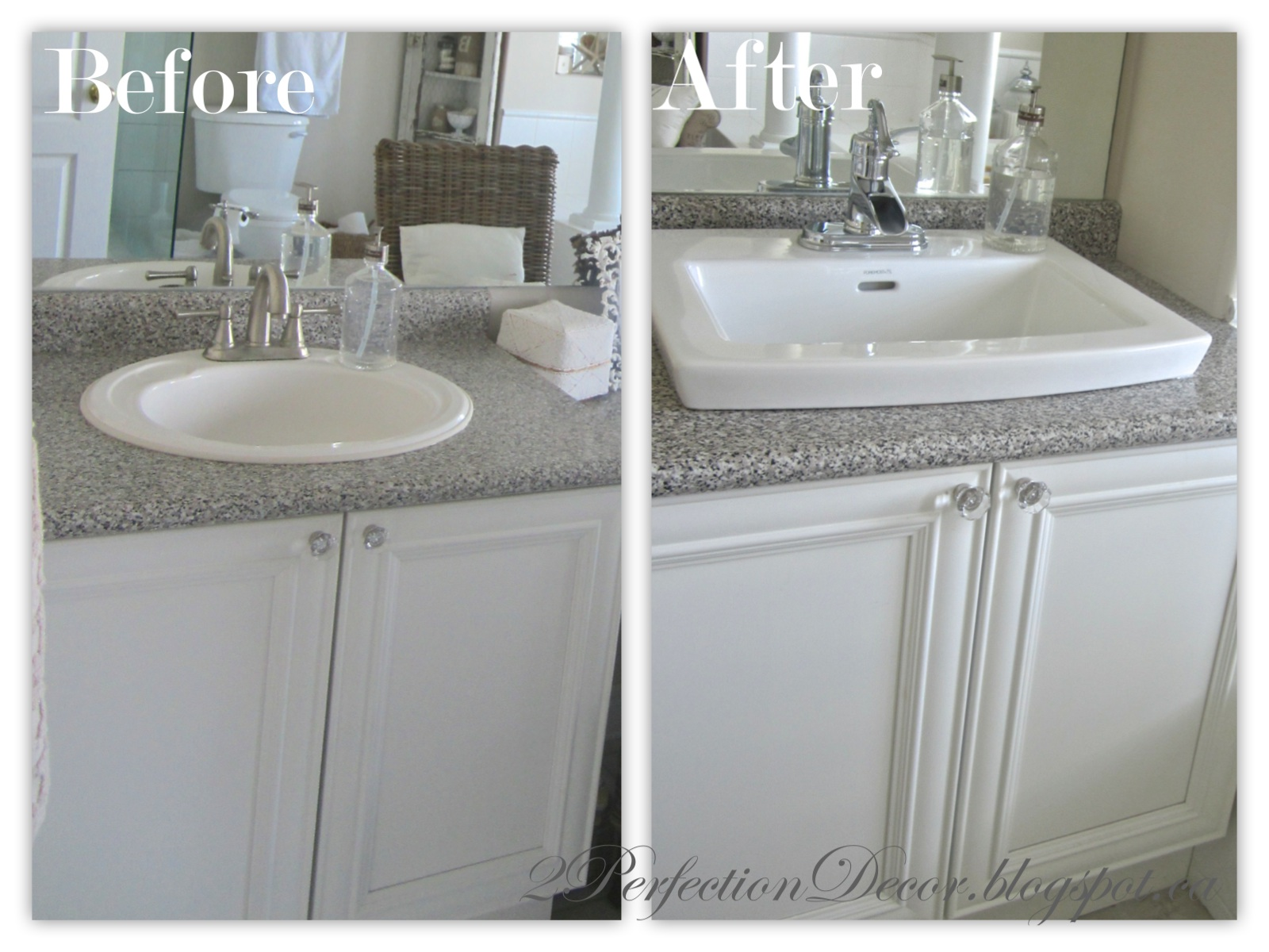 2perfection decor updating old bathroom sinks while re using old vanities Used bathroom vanity with sink