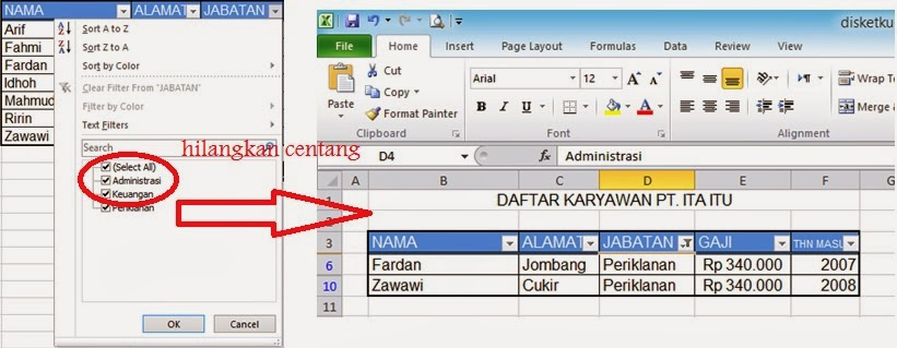 contoh filter excel