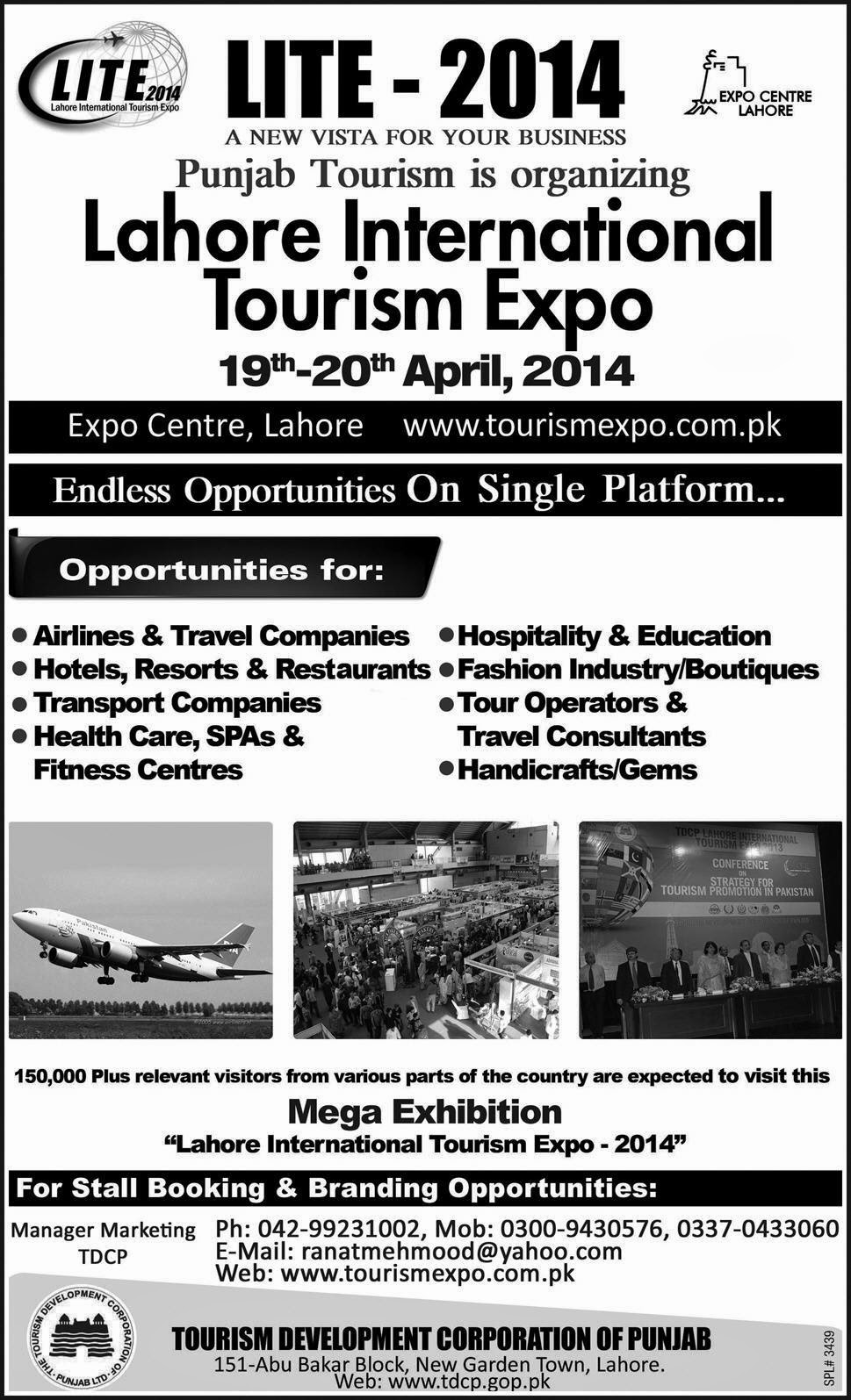 LITE 2014 Lahore International Tourism Expo 16th to 20th April 2014