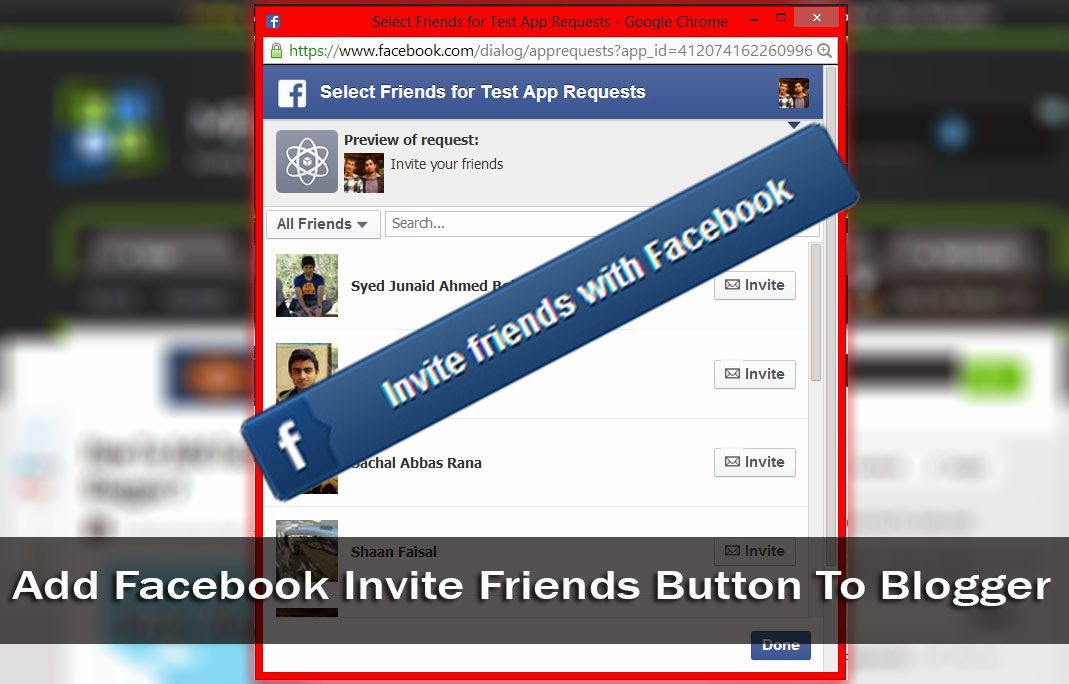 Facebook invite friend Blogger widget