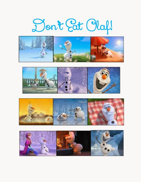 Dont Eat Olaf game, Frozen birthday party, Frozen party games and food labels