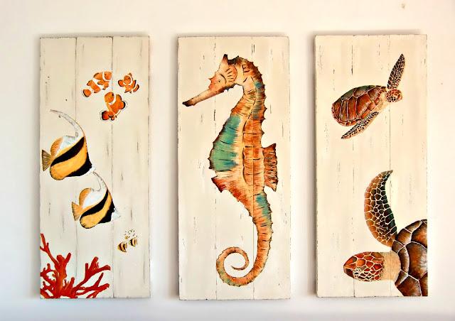 Vicky 39 s home decorar con mis pinturas decorate with my - Cuadros hechos con piedras de playa ...