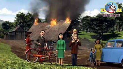 The Fat Controller old log shed house burning down red locomotive Flynn fire engine crowds watching