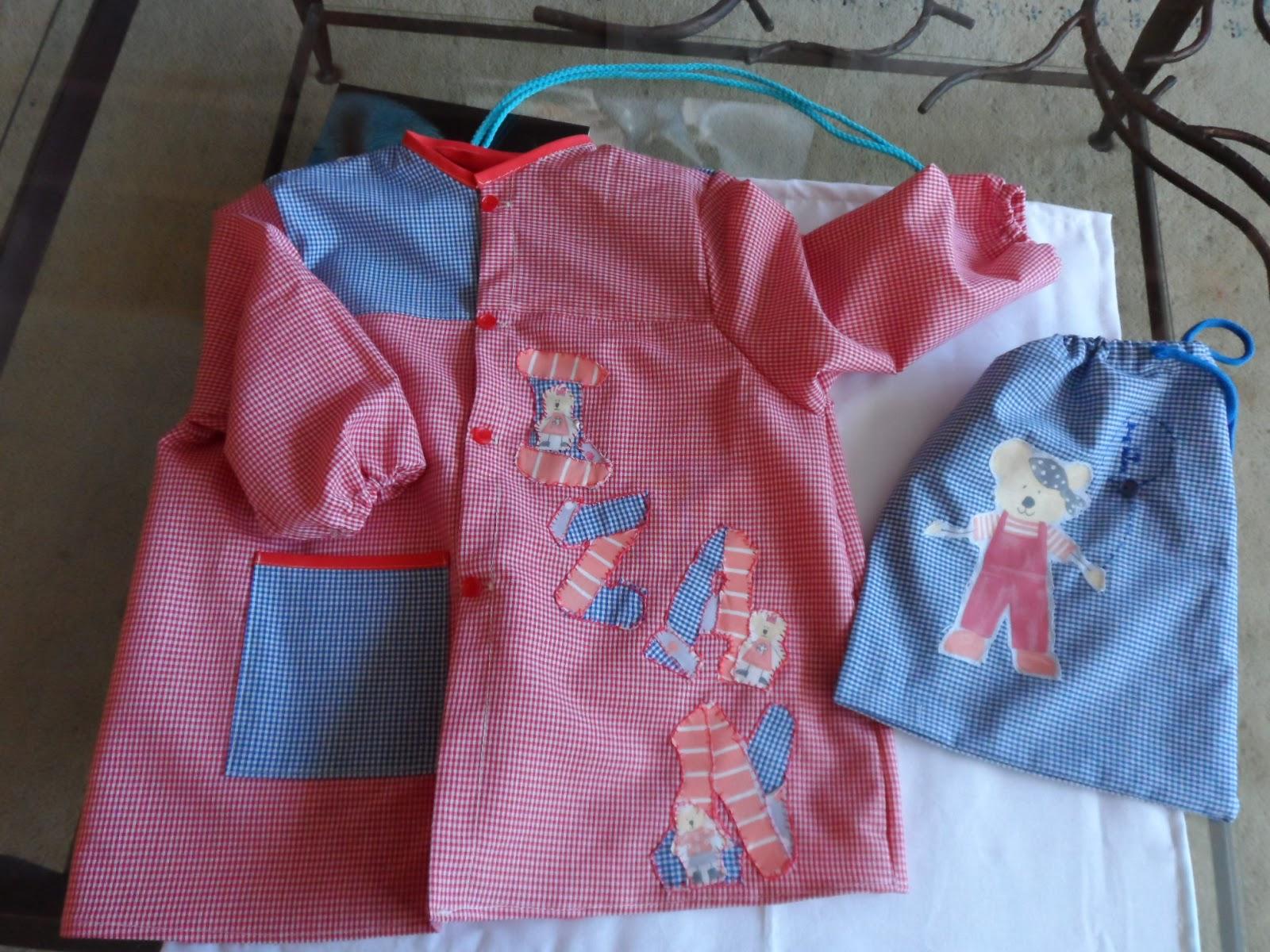 Conjunto de bata y bolsa merienda para niño