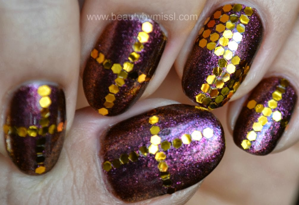 golden purple nails, notd, nails of the day,