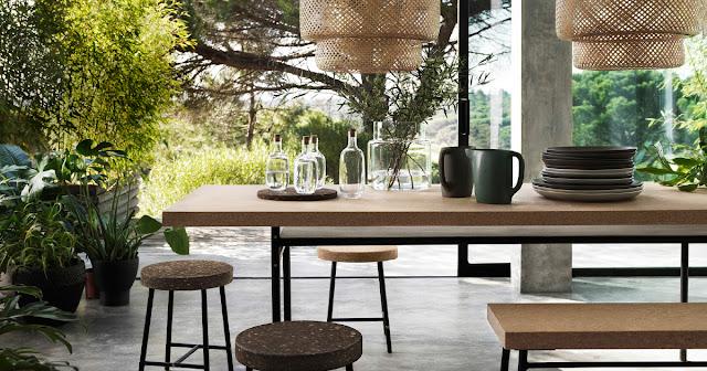 Einrichten mit IKEA – die neue Sinnerlig Kollektion von Ilse Crawford mit Tisch und Stuhl aus Kork und Metall