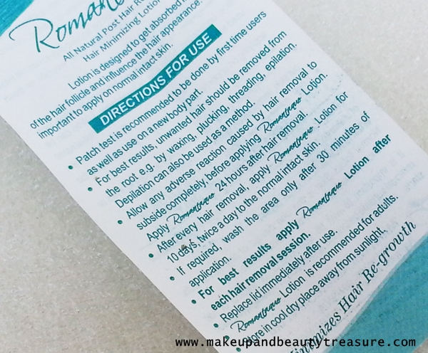 Romantaque Hair Minimizing Lotion Review