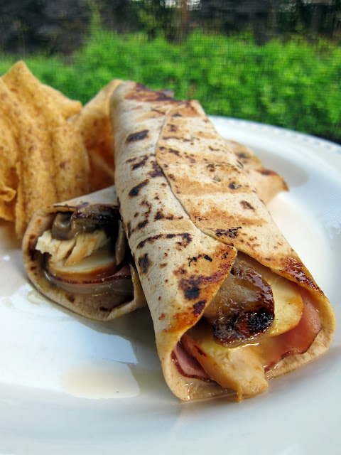 Chicken Cordon Bleu Wrap - chicken, ham, cheese, mushrooms and honey mustard wrapped in a tortilla and grilled - delicious and quick sandwich!
