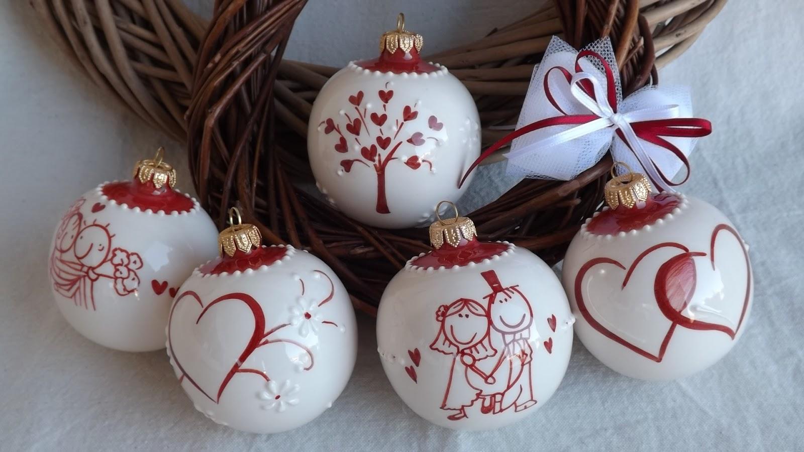 Famoso ceramica come mestiere: Palline per l'albero di Natale. Sposini  XG44