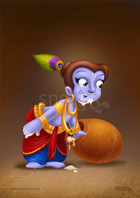 Little Krishna Indian Art Print