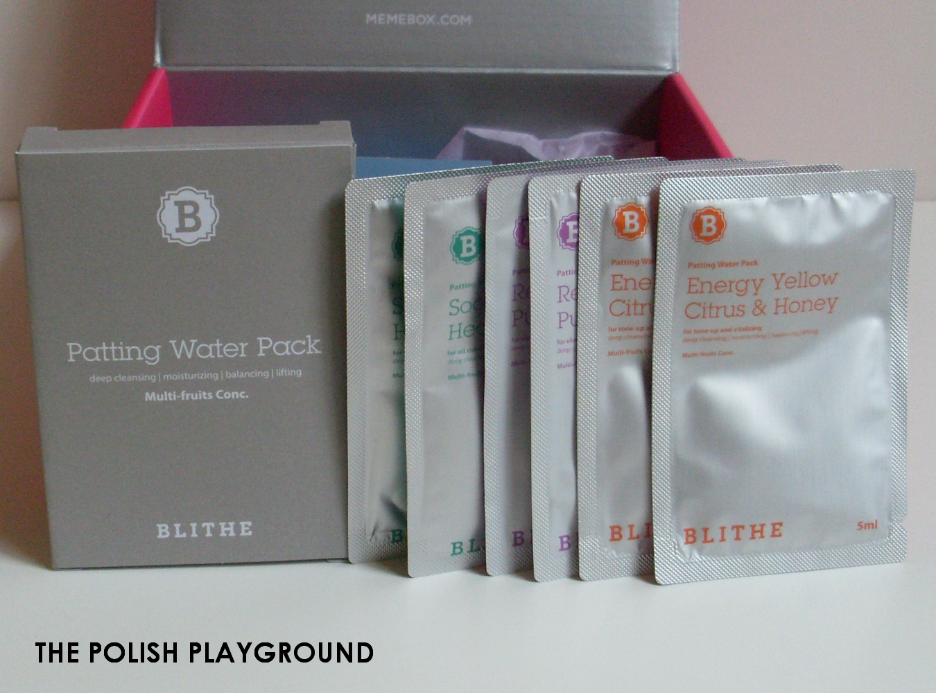 Memebox Special #81 The Next Best Thing in Skin Care Unboxing - Blithe Patting Water Pack (Includes Energy Yellow Citrus & Honey, Soothing & Healing Green Tea, and Rejuvenating Purple Berry)
